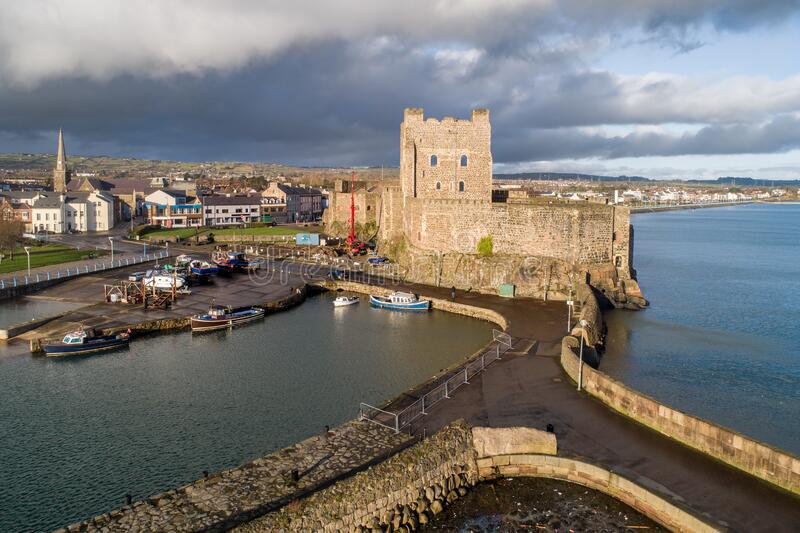 Carrickfergus, Northern Ireland. Castle, harbor and town stock images