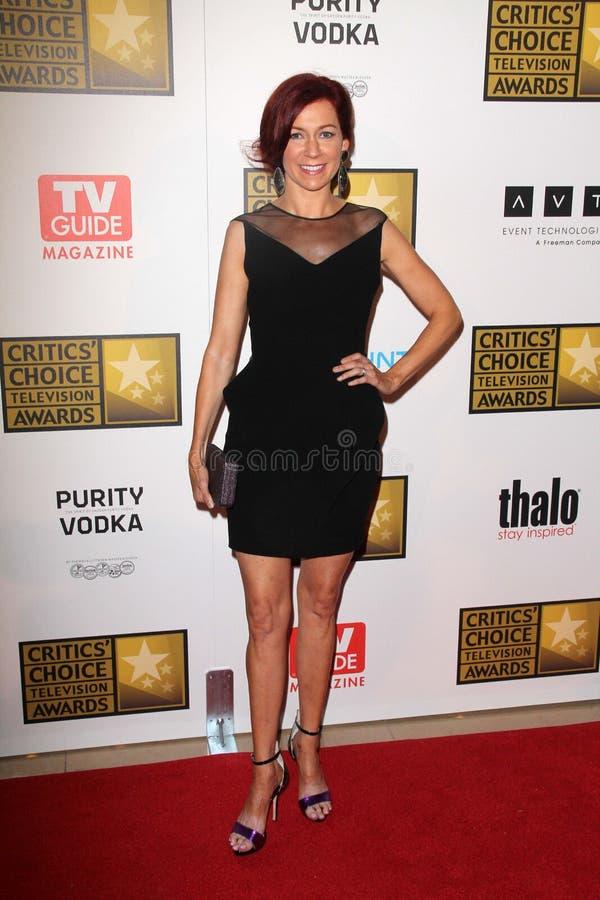 Carrie Preston bij de Toekenning van de Televisie van de Keus van de Tweede Jaarlijkse Critici, Beverly Hilton, Beverly Hills, CA  stock foto