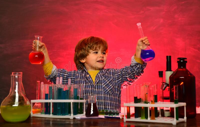 They carried out a new experiment in chemistry. Home schooling. Happy little scientist making experiment with test tube royalty free stock photo