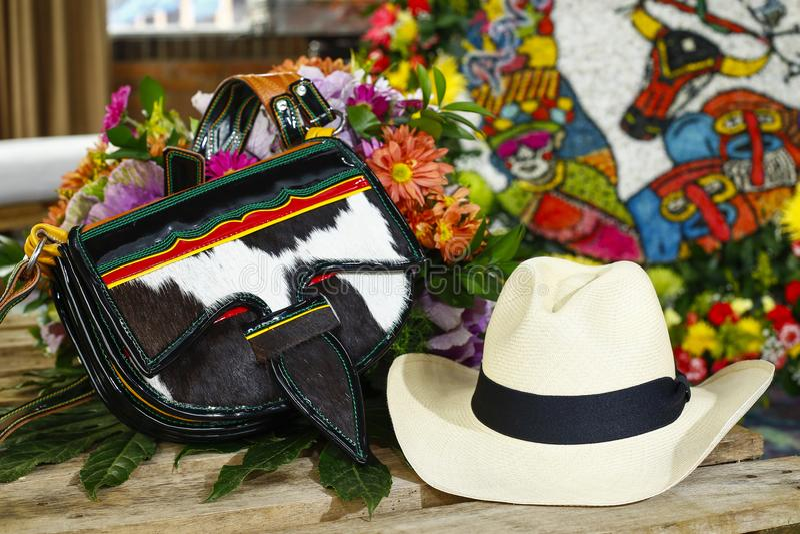Carriel的细节, Silleteros游行,公平地开花,麦德林,安蒂奥基亚省,哥伦比亚 库存图片