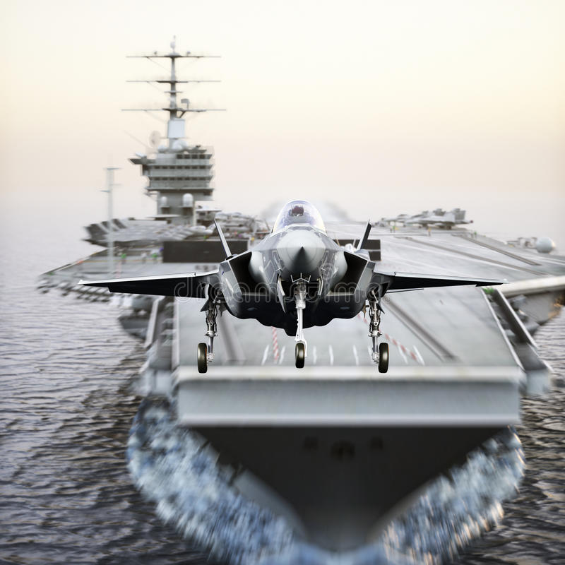 Carrier jet takeoff . Advanced aircraft jet taking off from a navy aircraft carrier. 3d rendering royalty free illustration