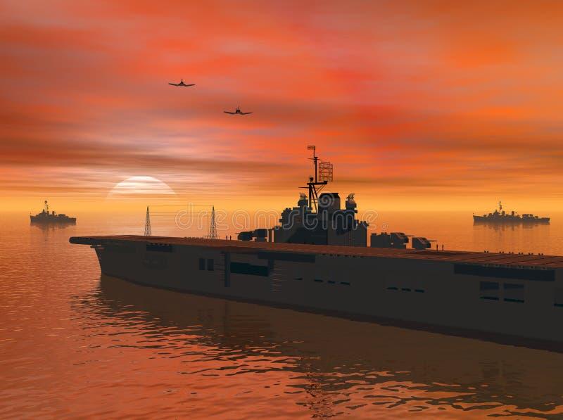 Carrier op zee stock illustratie