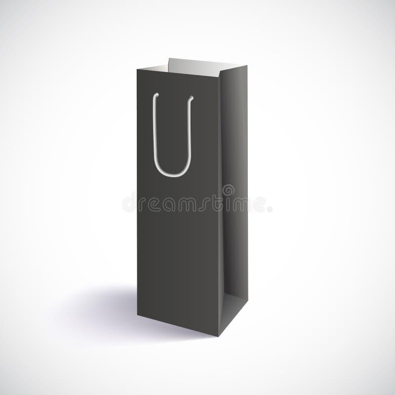 Carrier paper bag. Black shopping bag, vector eps10 illustration stock illustration