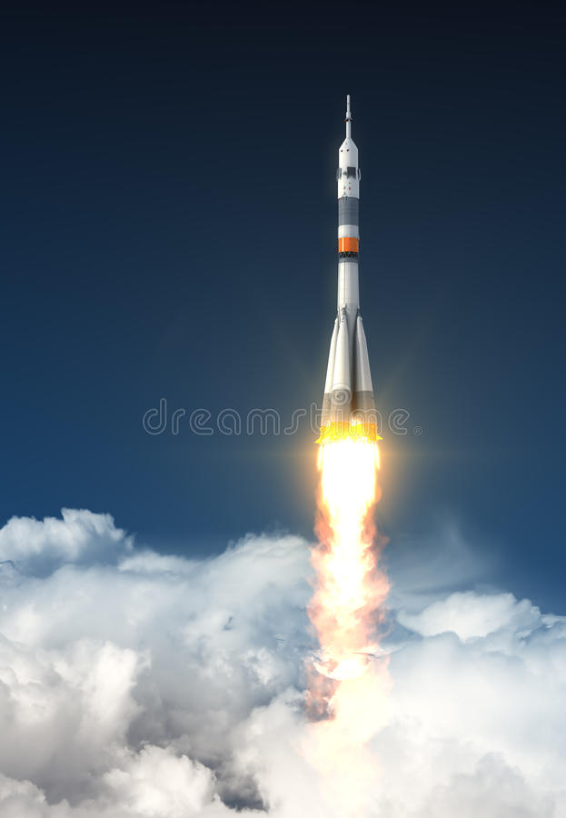 Carrier Rocket Over The Clouds stock illustration