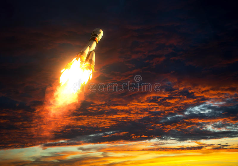 Carrier Rocket Takes Off On A Background Of Red Clouds vector illustration