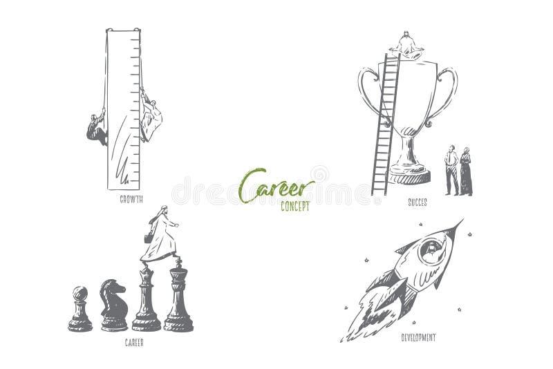 Carriera, crescita, successo, schizzo di concetto di sviluppo illustrazione di stock