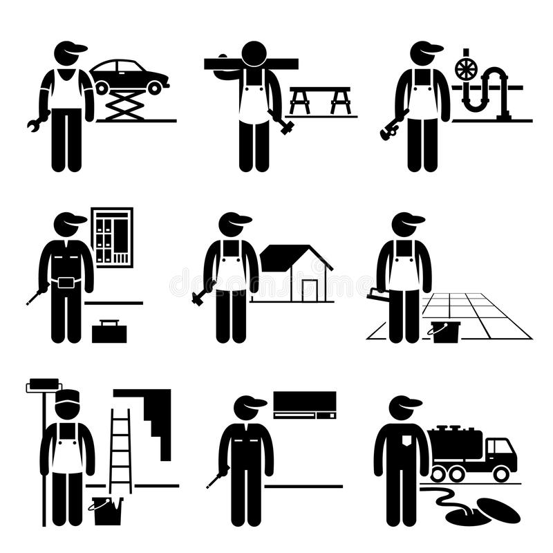 Carriere di occupazioni di Labour Skilled Jobs del tuttofare royalty illustrazione gratis