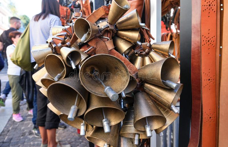 Carriga, sardinian cowbells part of mamuthones mask in traditional mamoiada carnival royalty free stock image