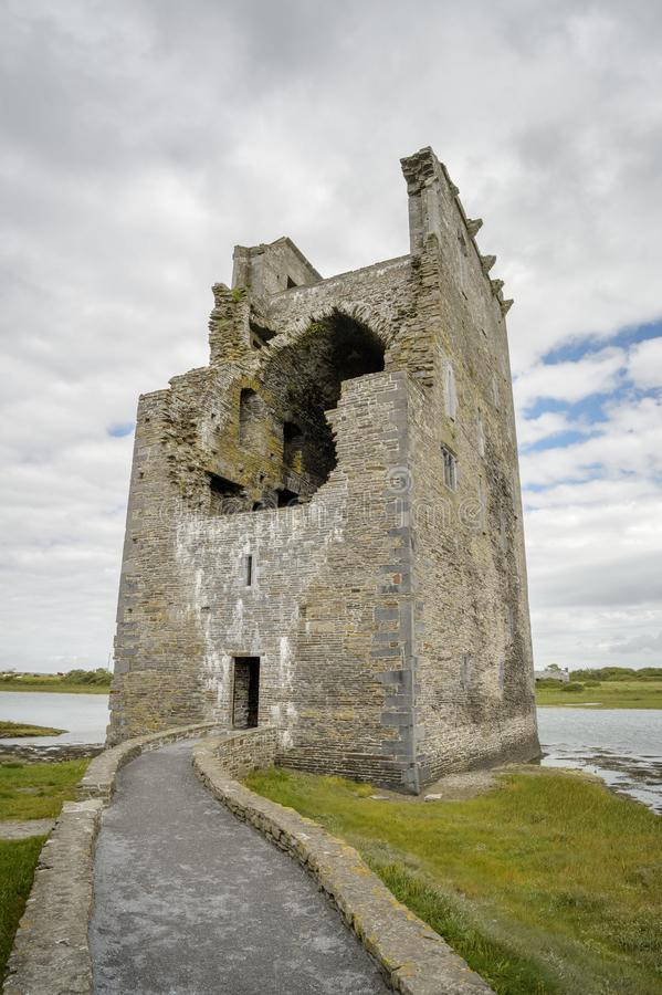 Carrigafoyle Castle at the river Shannon stock images