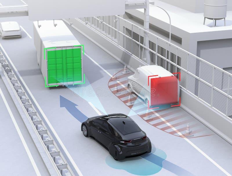 Carril cambiante del coche autónomo rápidamente para evitar un accidente de tráfico stock de ilustración