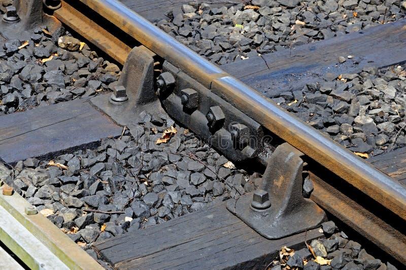 Carril del metal con el carpintero en pista ferroviaria foto de archivo