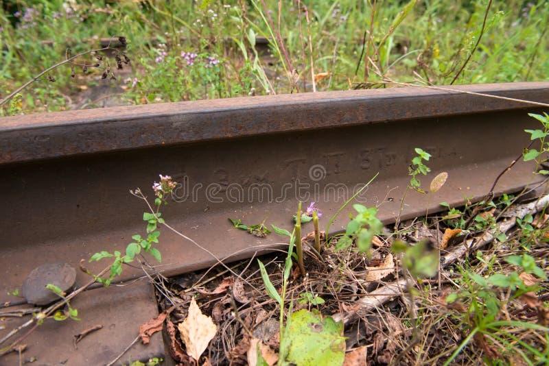 Carril viejo en la pista ferroviaria foto de archivo