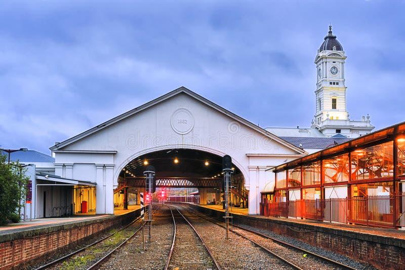 Carriles de la estación de VIC Ballarat Train fotos de archivo