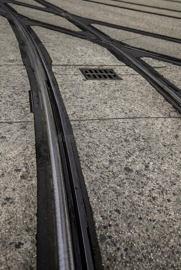 Carriles de la tranvía en Gante foto de archivo