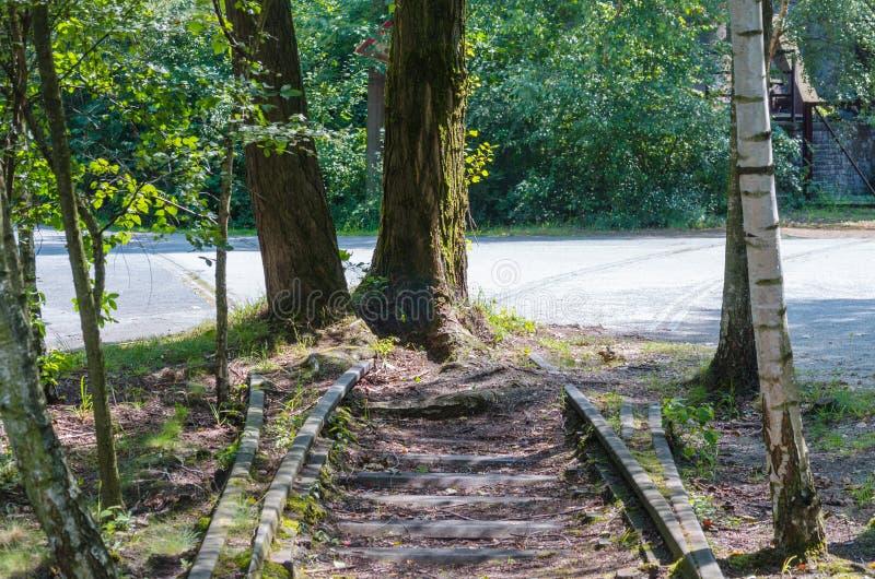 Carriles del ferrocarril del extremo, pistas a en ninguna parte fotografía de archivo libre de regalías