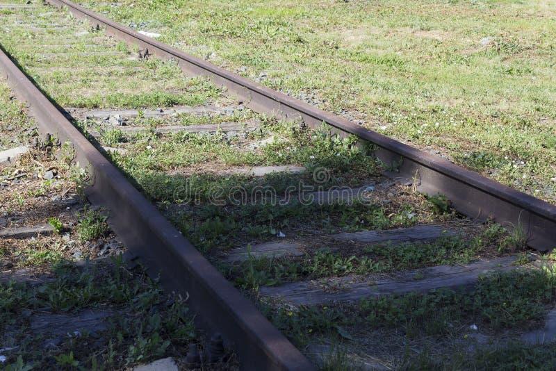 Carriles, ferrocarril, vista lateral imagenes de archivo