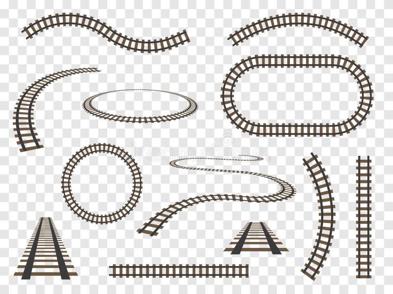 Carriles fijados aislados Ferrocarriles del vector en fondo transparente libre illustration