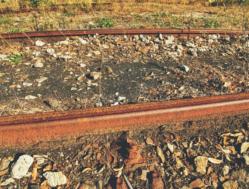 Carriles oxidados Lazos viejos putrefactos del olor terrible con la pintura del asfalto del fenol imágenes de archivo libres de regalías