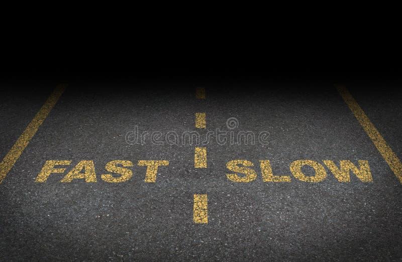 Carriles rápidos y lentos stock de ilustración