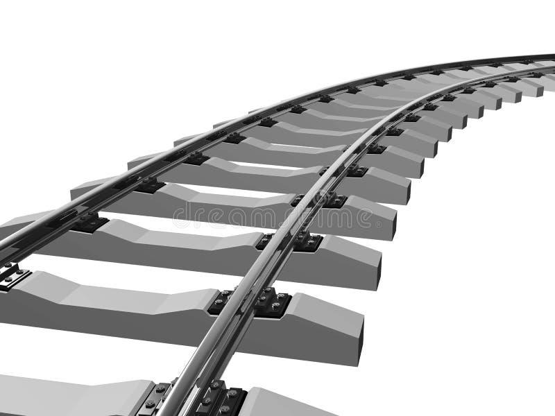 Carriles y durmientes ferroviarios en 3d stock de ilustración