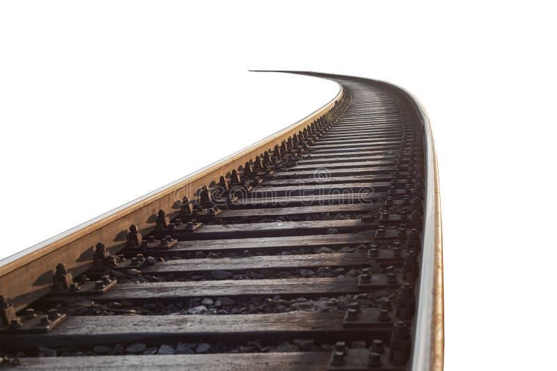 Carriles y durmientes ferroviarios en el aislamiento contra el fondo blanco fotos de archivo libres de regalías