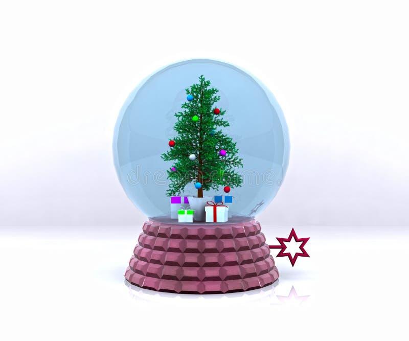 Carrilhão com árvore e presentes de Natal ilustração royalty free
