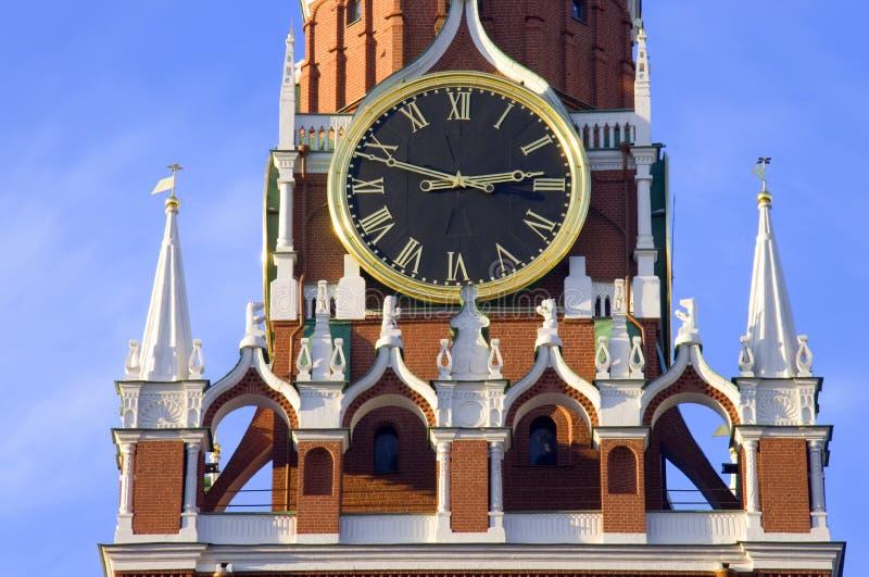 Carrilhões da torre de Spasskaya do Kremlin de Moscou foto de stock