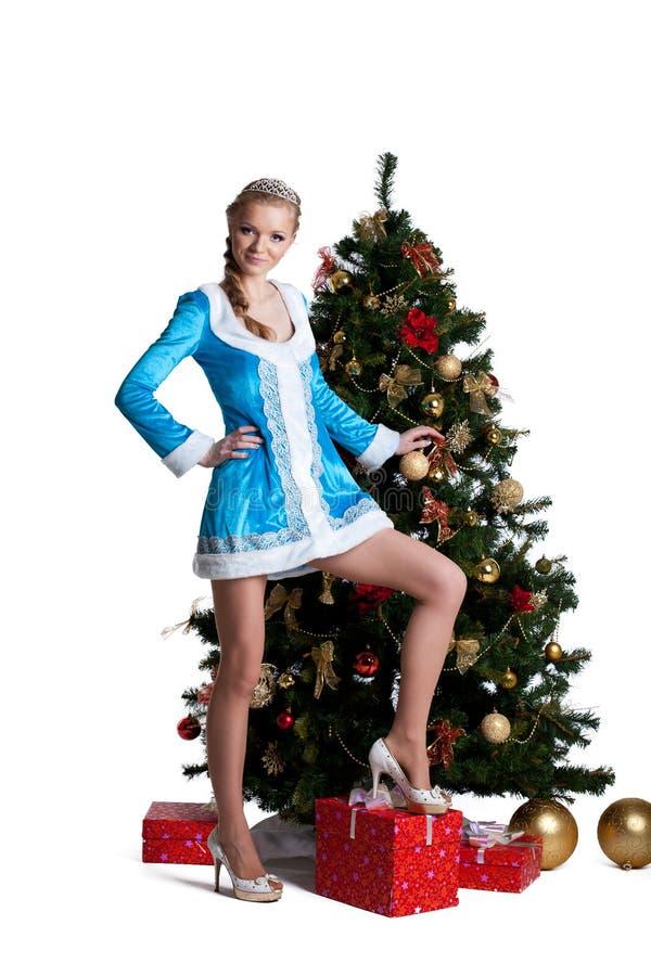 Carrinho bonito da menina do Natal com a árvore de abeto do ano novo imagem de stock royalty free