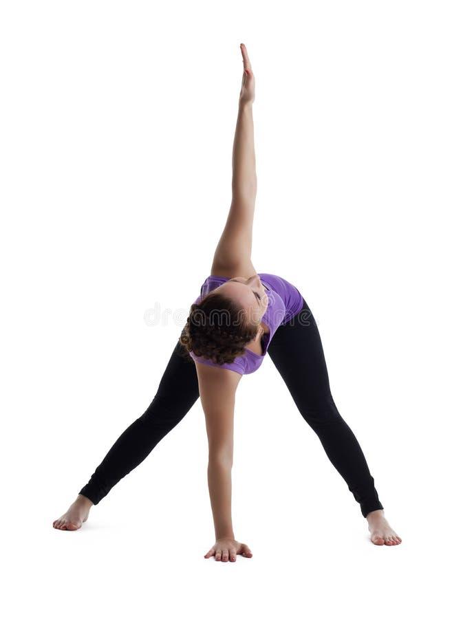 Carrinho da mulher no pose da ioga isolado imagem de stock royalty free