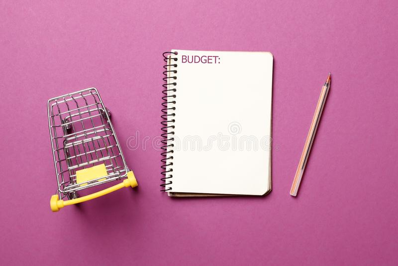 Carrinho de compras, caderno de papel vazio com pena em um fundo cor-de-rosa imagens de stock