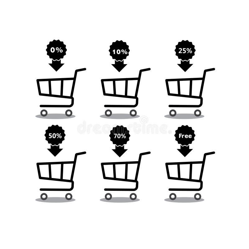 Carrinho de compras com ícone ajustado do disconto da porcentagem Objetos isolados no fundo Ilustração do plano e dos desenhos an ilustração stock