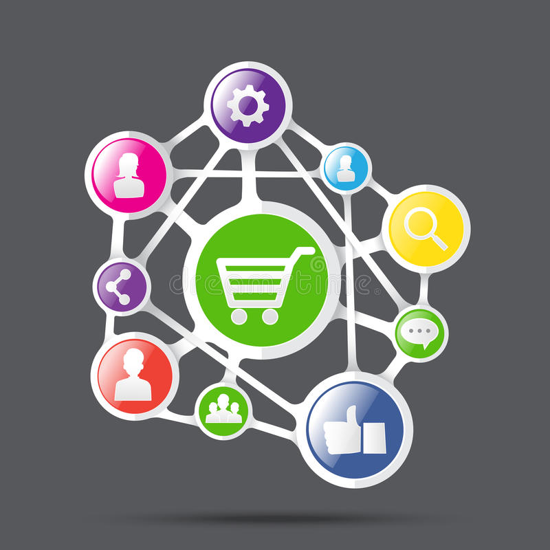 Carrinho de compras com ícone social da rede, negócio da conexão concentrado ilustração royalty free