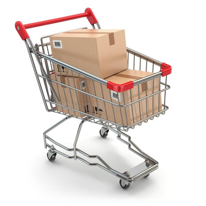 Carrinho de compras com as caixas no fundo branco ilustração do vetor