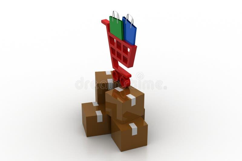 Carrinho de compras com bens ilustração royalty free