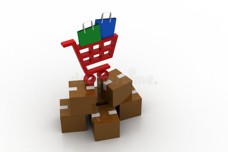 Carrinho de compras com bens ilustração do vetor