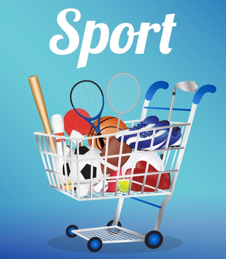 Carrinho de compras com bola de futebol ilustração stock