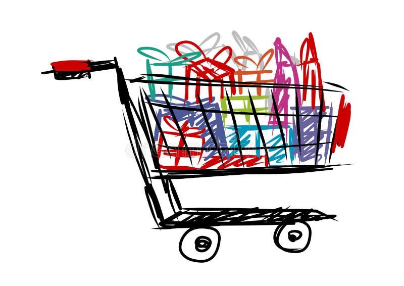 Carrinho de compras com caixa de presente e saco ilustração do vetor