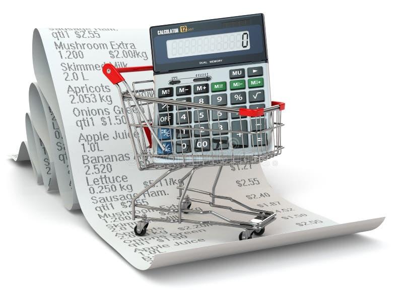 Carrinho de compras com a calculadora no recibo ilustração do vetor