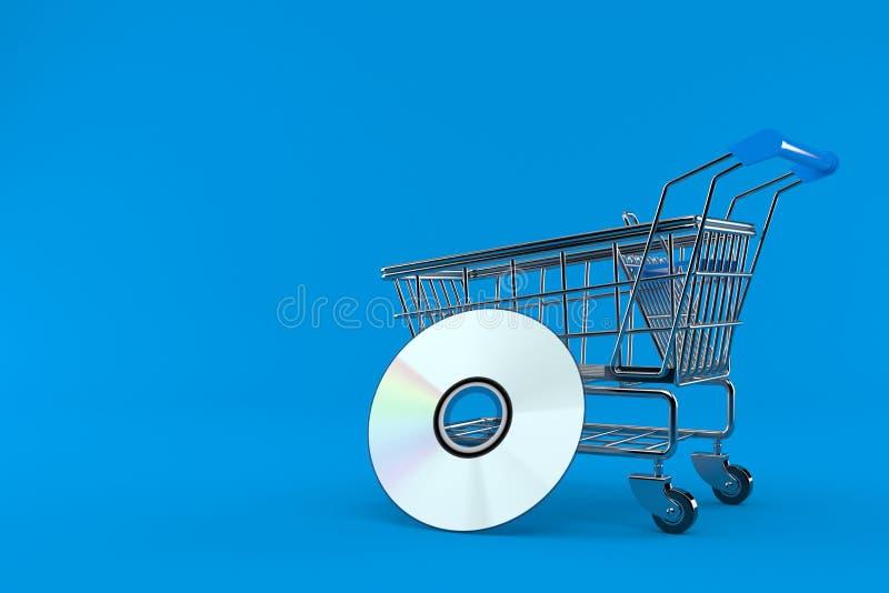 Carrinho de compras com disco do CD ilustração do vetor