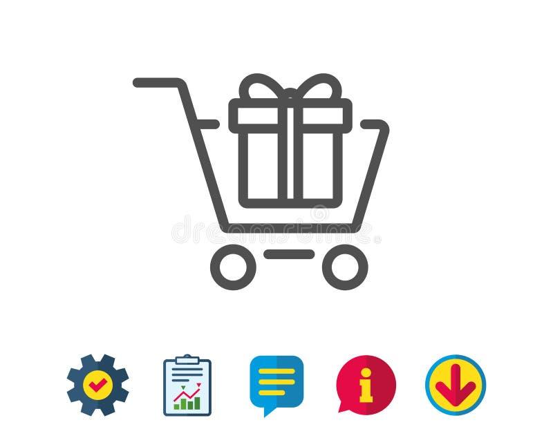 Carrinho de compras com linha ícone da caixa de presente ilustração do vetor