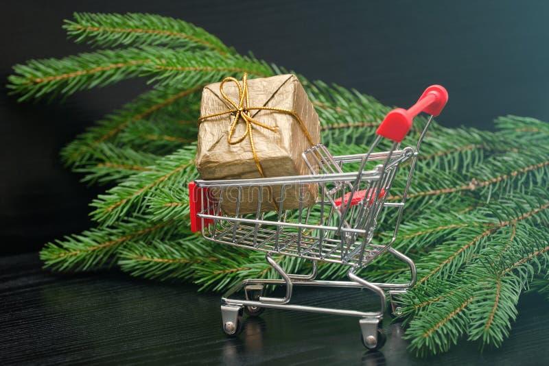 Carrinho de compras com refeição matinal da árvore da caixa de presente e da pele Venda do feriado imagens de stock royalty free
