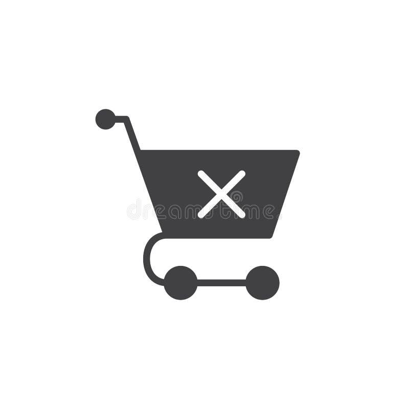 Carrinho de compras com vetor do ícone da marca de x ilustração stock