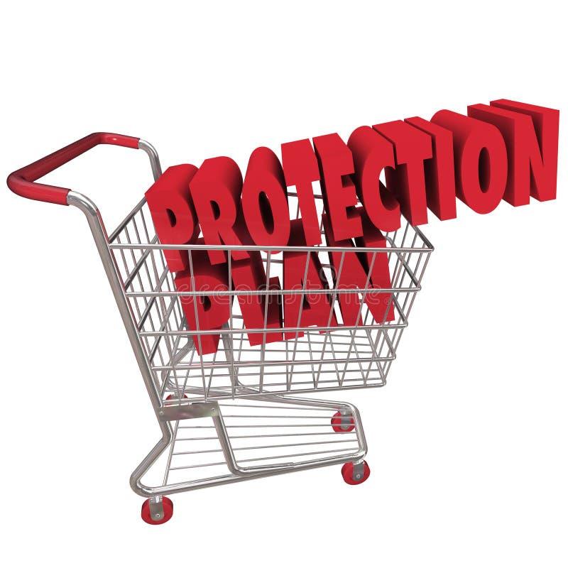 Carrinho de compras da cobertura da garantia prolongada do plano da proteção ilustração royalty free