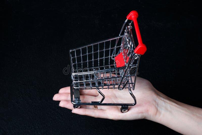 Carrinho de compras diminuto pequeno no fundo do preto escuro fotografia de stock royalty free