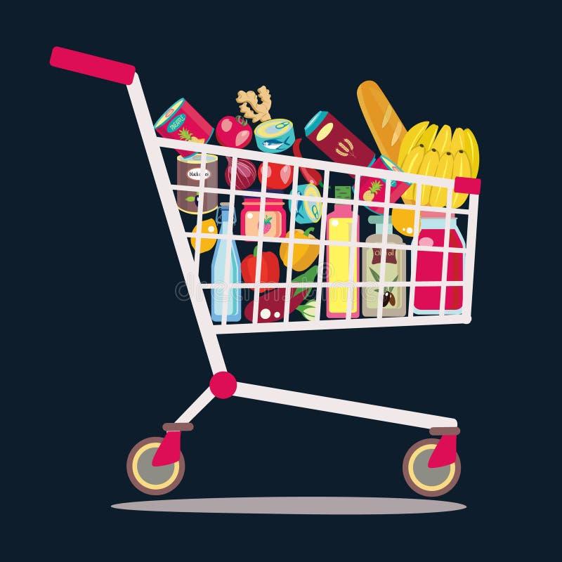 Carrinho de compras do supermercado completamente do produto fresco, saudável ilustração royalty free