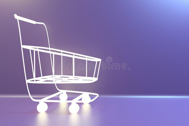Carrinho de compras do supermercado rendição 3d ilustração stock