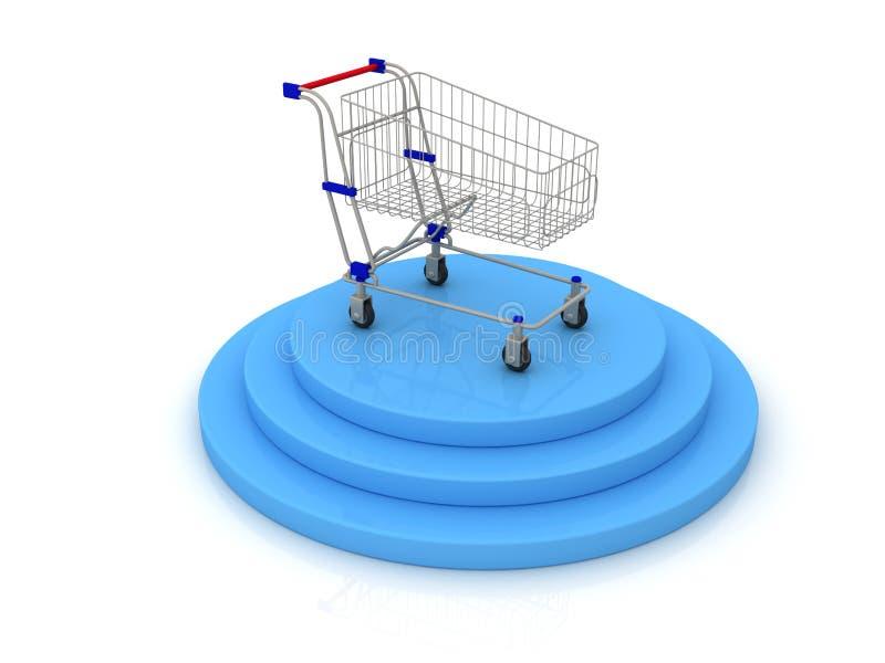 Carrinho de compras e objetivo ilustração royalty free