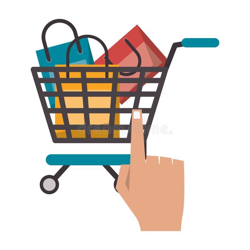 Carrinho de compras em linha ilustração royalty free