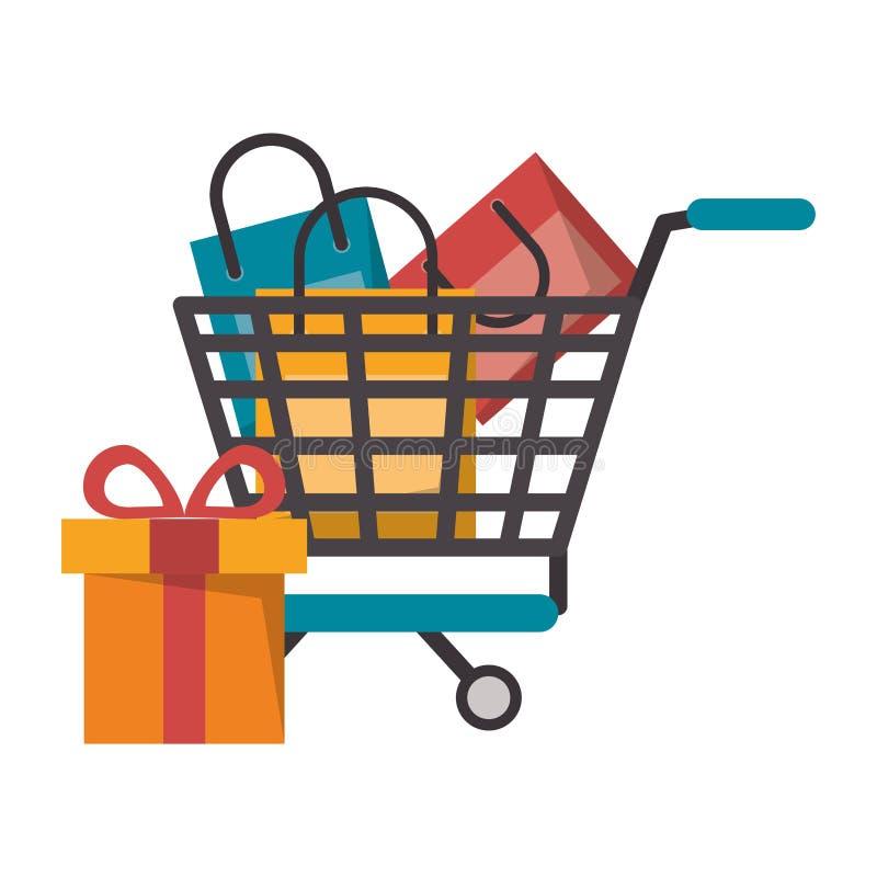 Carrinho de compras em linha ilustração do vetor