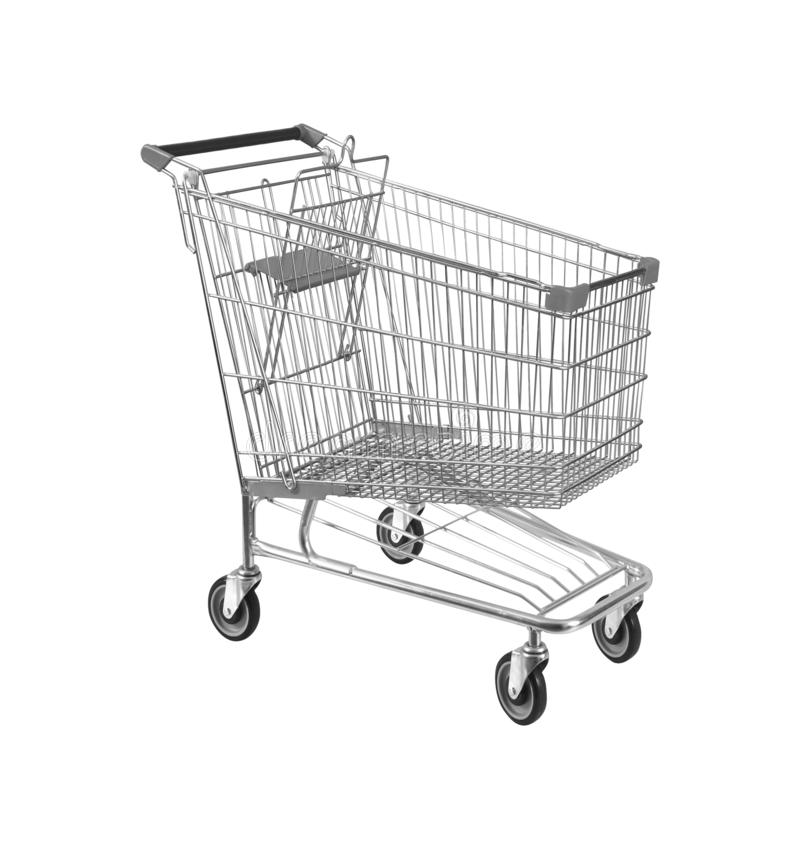 Carrinho de compras, isolado no branco imagens de stock royalty free
